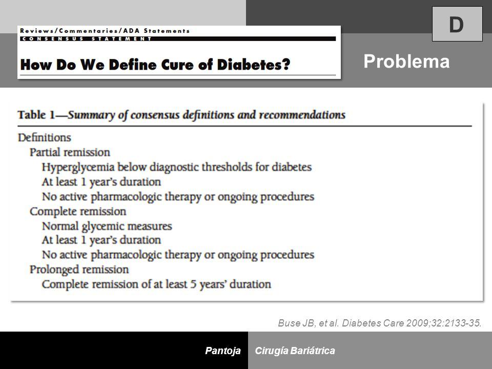 D Cirugía BariátricaPantoja Problema D Buse JB, et al. Diabetes Care 2009;32:2133-35.