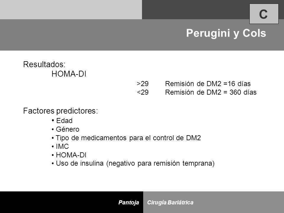 D Cirugía BariátricaPantoja Resultados: HOMA-DI >29Remisión de DM2 =16 días <29Remisión de DM2 = 360 días Factores predictores: Edad Género Tipo de me