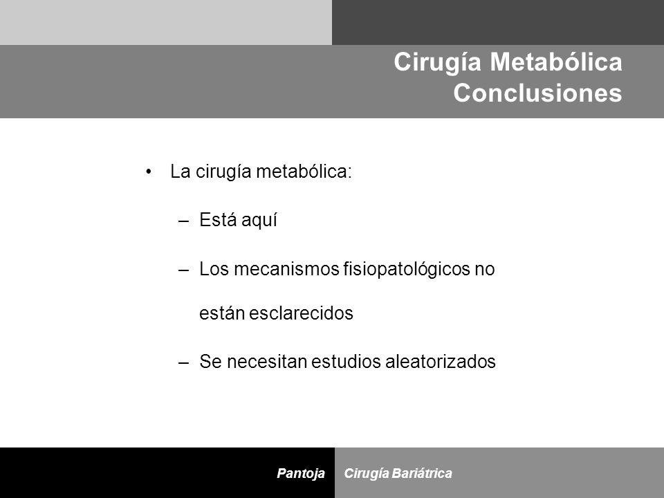 D Cirugía BariátricaPantoja La cirugía metabólica: –Está aquí –Los mecanismos fisiopatológicos no están esclarecidos –Se necesitan estudios aleatoriza