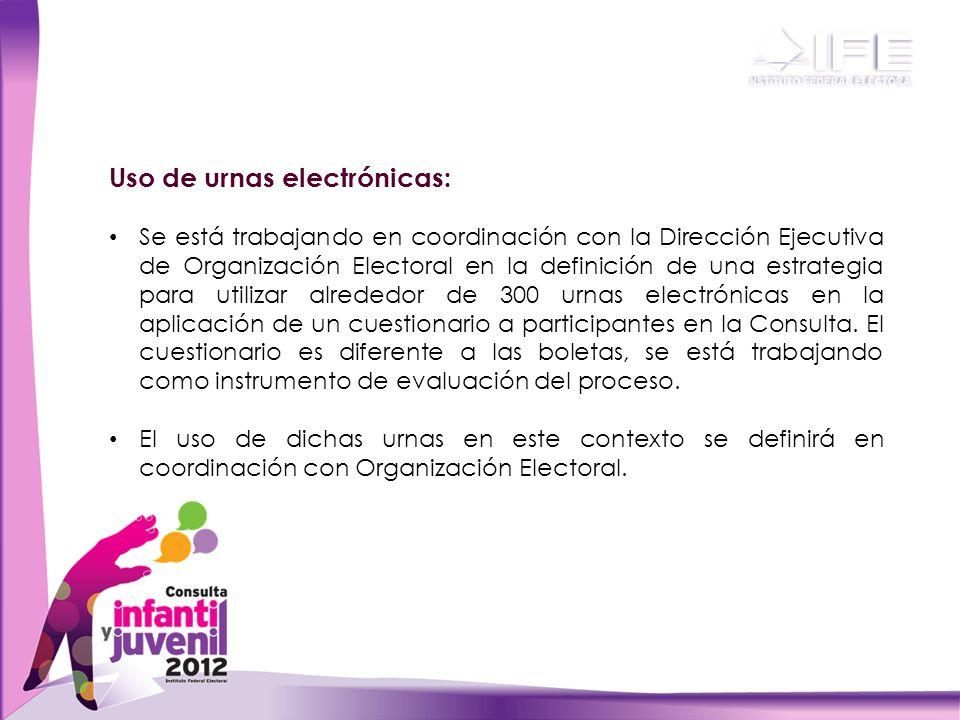 Uso de urnas electrónicas: Se está trabajando en coordinación con la Dirección Ejecutiva de Organización Electoral en la definición de una estrategia para utilizar alrededor de 300 urnas electrónicas en la aplicación de un cuestionario a participantes en la Consulta.