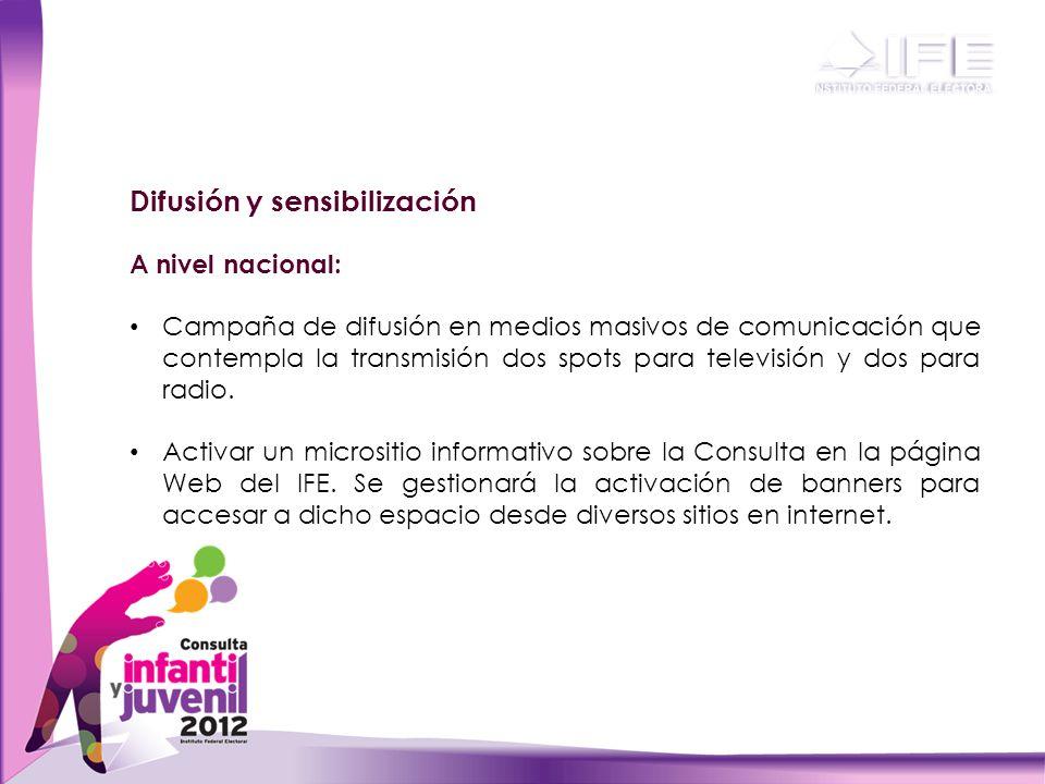 Difusión y sensibilización A nivel nacional: Campaña de difusión en medios masivos de comunicación que contempla la transmisión dos spots para televisión y dos para radio.