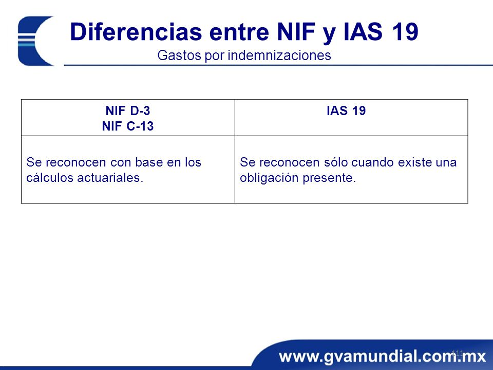 Diferencias entre NIF y IAS 19 Gastos por indemnizaciones 111 NIF D-3 NIF C-13 IAS 19 Se reconocen con base en los cálculos actuariales.