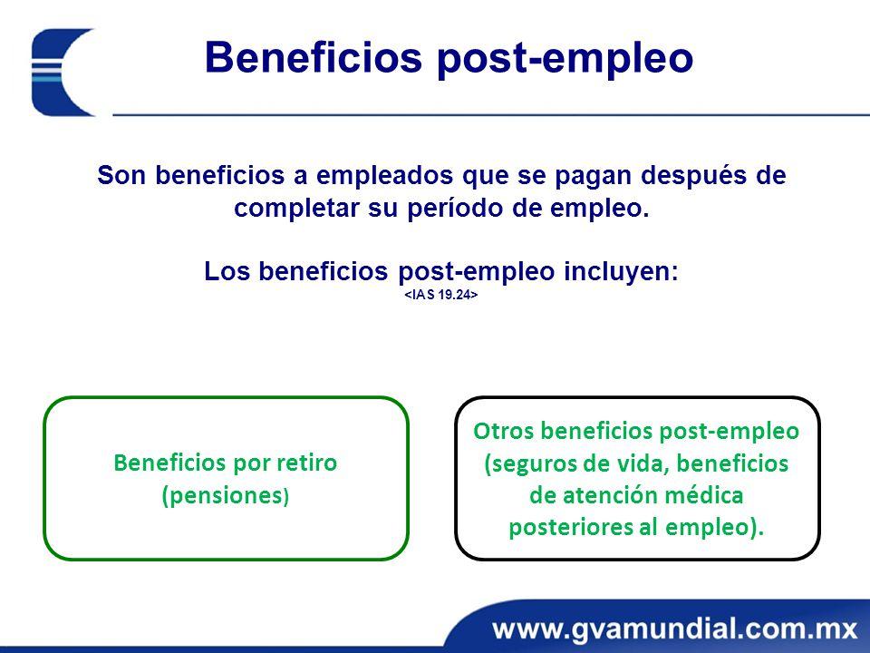 Beneficios post-empleo Son beneficios a empleados que se pagan después de completar su período de empleo.
