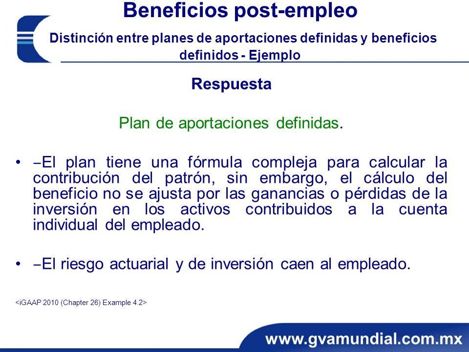Beneficios post-empleo Distinción entre planes de aportaciones definidas y beneficios definidos - Ejemplo Respuesta Plan de aportaciones definidas.