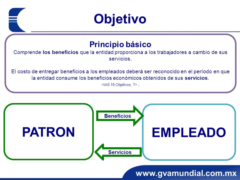 Objetivo EMPLEADO PATRON Principio básico Comprende los beneficios que la entidad proporciona a los trabajadores a cambio de sus servicios.