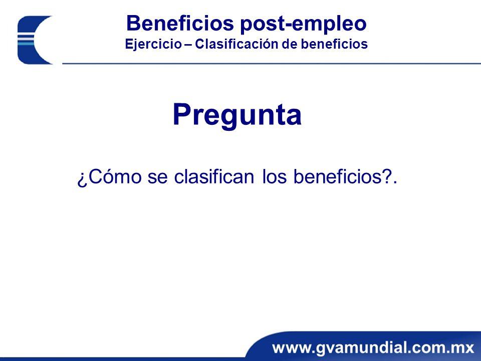 Beneficios post-empleo Ejercicio – Clasificación de beneficios Pregunta ¿Cómo se clasifican los beneficios?.