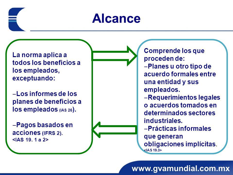 Alcance Comprende los que proceden de: Planes u otro tipo de acuerdo formales entre una entidad y sus empleados.