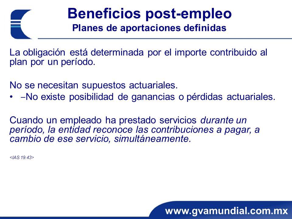 Beneficios post-empleo Planes de aportaciones definidas La obligación está determinada por el importe contribuido al plan por un período.