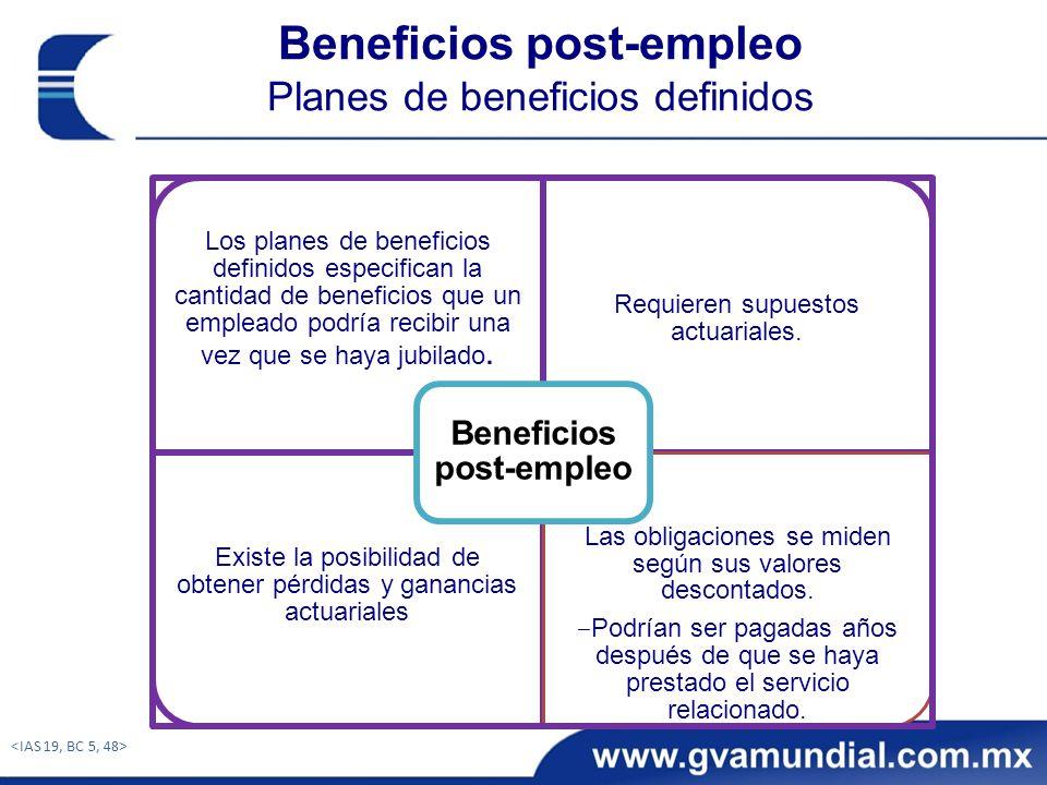 Beneficios post-empleo Planes de beneficios definidos Los planes de beneficios definidos especifican la cantidad de beneficios que un empleado podría recibir una vez que se haya jubilado.