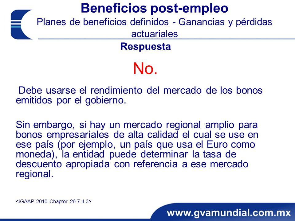 Beneficios post-empleo Planes de beneficios definidos - Ganancias y pérdidas actuariales Respuesta No.