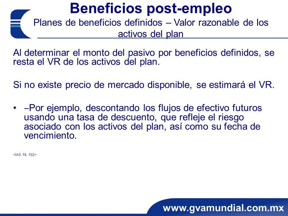 Beneficios post-empleo Planes de beneficios definidos – Valor razonable de los activos del plan Al determinar el monto del pasivo por beneficios definidos, se resta el VR de los activos del plan.