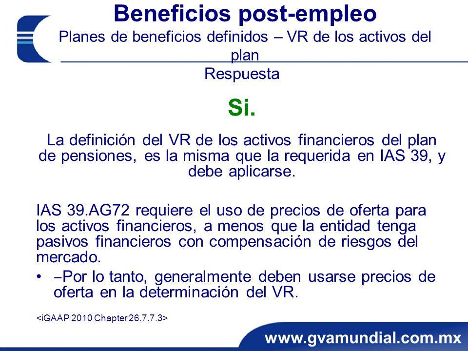 Beneficios post-empleo Planes de beneficios definidos – VR de los activos del plan Respuesta Si.