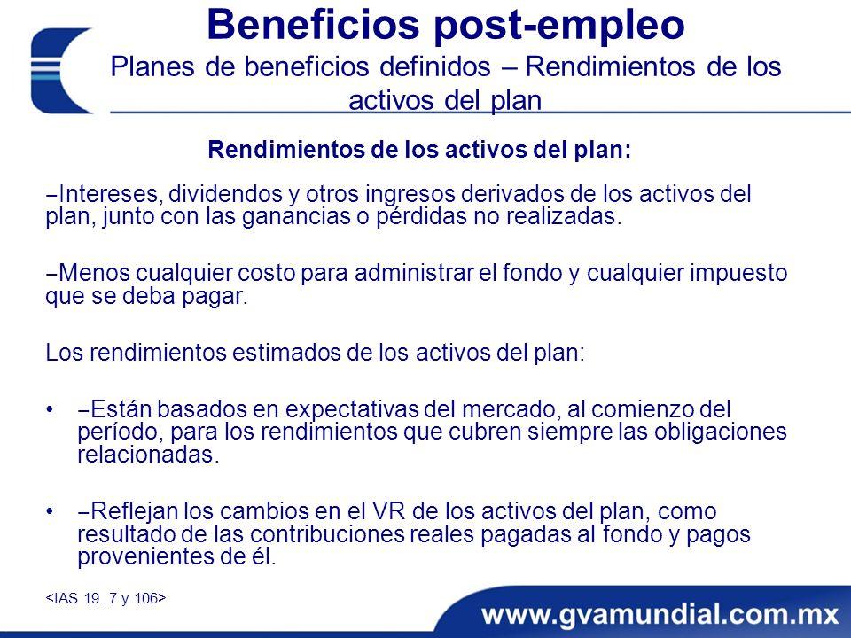 Beneficios post-empleo Planes de beneficios definidos – Rendimientos de los activos del plan Rendimientos de los activos del plan: Intereses, dividendos y otros ingresos derivados de los activos del plan, junto con las ganancias o pérdidas no realizadas.