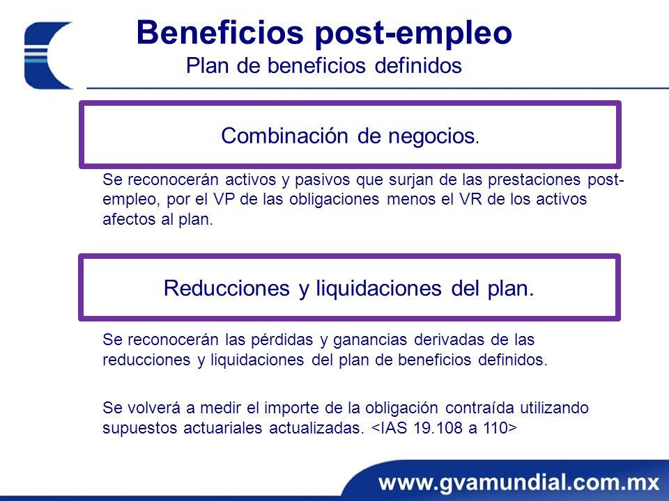 Beneficios post-empleo Plan de beneficios definidos Se reconocerán activos y pasivos que surjan de las prestaciones post- empleo, por el VP de las obligaciones menos el VR de los activos afectos al plan.