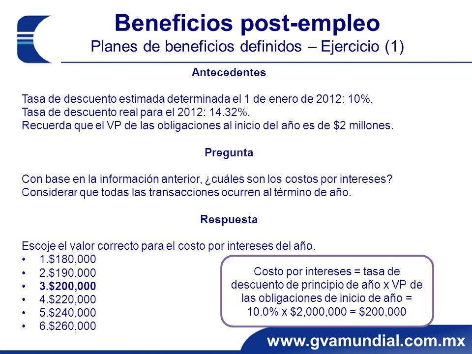 Beneficios post-empleo Planes de beneficios definidos – Ejercicio (1) Antecedentes Tasa de descuento estimada determinada el 1 de enero de 2012: 10%.