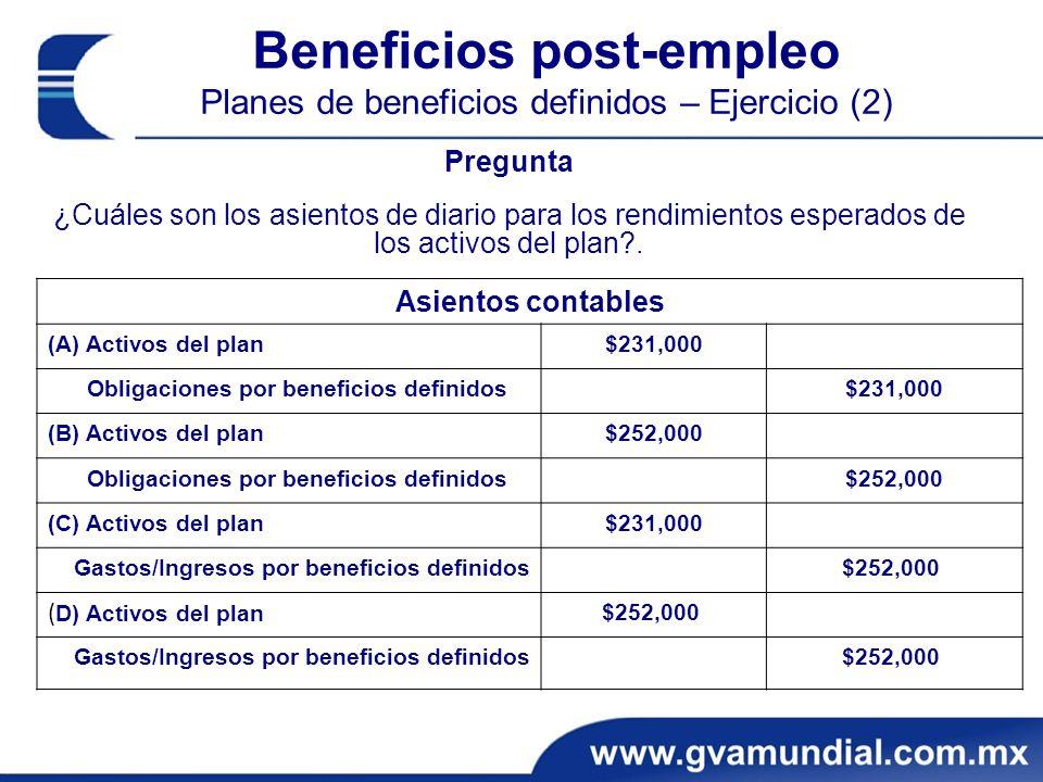 Beneficios post-empleo Planes de beneficios definidos – Ejercicio (2) Pregunta ¿Cuáles son los asientos de diario para los rendimientos esperados de los activos del plan?.