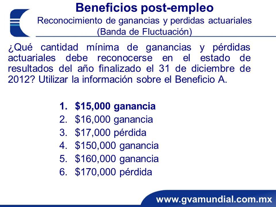 Beneficios post-empleo Reconocimiento de ganancias y perdidas actuariales (Banda de Fluctuación) ¿Qué cantidad mínima de ganancias y pérdidas actuariales debe reconocerse en el estado de resultados del año finalizado el 31 de diciembre de 2012.