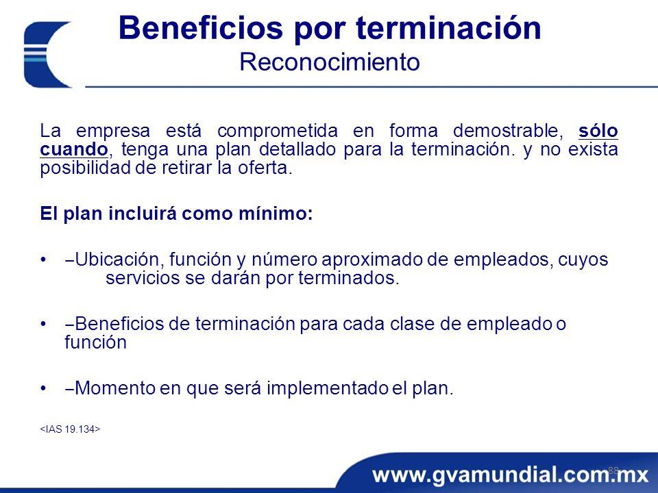 Beneficios por terminación Reconocimiento La empresa está comprometida en forma demostrable, sólo cuando, tenga una plan detallado para la terminación.