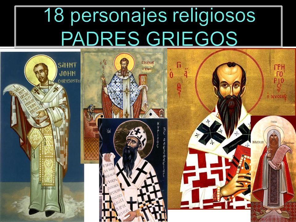 Juan Crisóstomo 347-407 Gregorio Nacianceno 330-389 Atanasio de Alejandría 293-373 Eusebio de Cesárea 290-359 Basilio de Cesárea 329-379 Cirilo de Alejandría 376-444