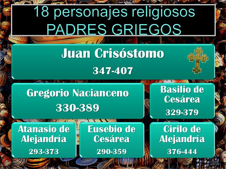 Juan Crisóstomo 347-407 Gregorio Nacianceno 330-389 Atanasio de Alejandría 293-373 Eusebio de Cesárea 290-359 Basilio de Cesárea 329-379 Cirilo de Ale