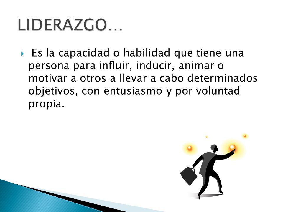 Es la capacidad o habilidad que tiene una persona para influir, inducir, animar o motivar a otros a llevar a cabo determinados objetivos, con entusias
