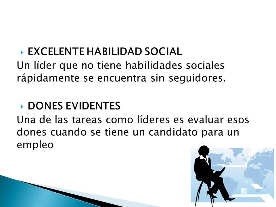EXCELENTE HABILIDAD SOCIAL Un líder que no tiene habilidades sociales rápidamente se encuentra sin seguidores. DONES EVIDENTES Una de las tareas como