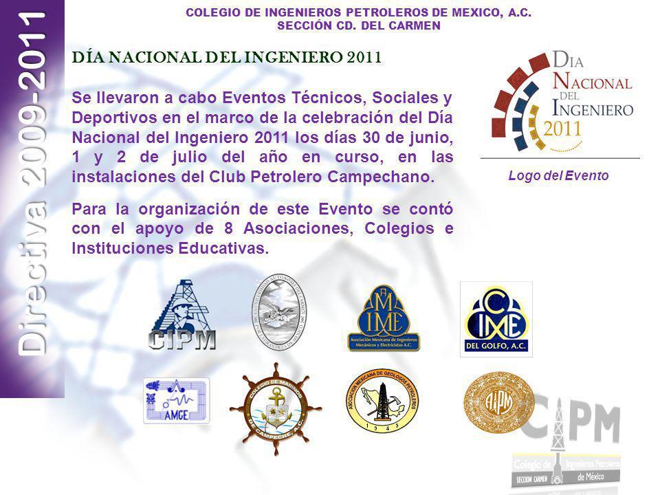 Directiva 2009-2011 COLEGIO DE INGENIEROS PETROLEROS DE MEXICO, A.C. SECCIÓN CD. DEL CARMEN DÍA NACIONAL DEL INGENIERO 2011 Se llevaron a cabo Eventos