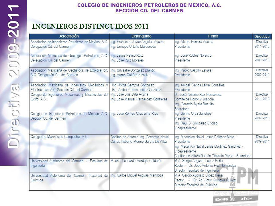 Directiva 2009-2011 COLEGIO DE INGENIEROS PETROLEROS DE MEXICO, A.C. SECCIÓN CD. DEL CARMEN AsociaciónDistinguidoFirma Directiva Asociación de Ingenie