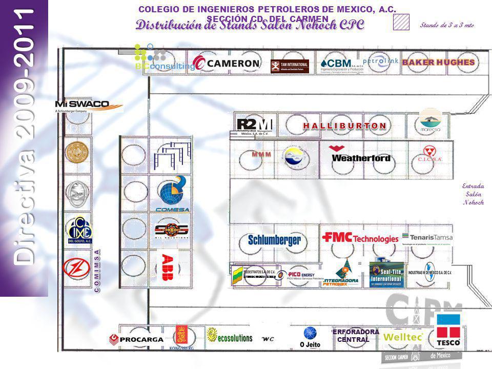 Directiva 2009-2011 COLEGIO DE INGENIEROS PETROLEROS DE MEXICO, A.C. SECCIÓN CD. DEL CARMEN Stands de 3 x 3 mts Distribución de Stands Salón Nohoch CP