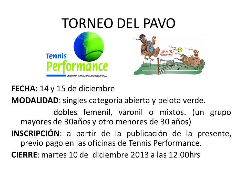 TORNEO DEL PAVO FECHA: 14 y 15 de diciembre MODALIDAD: singles categoría abierta y pelota verde.