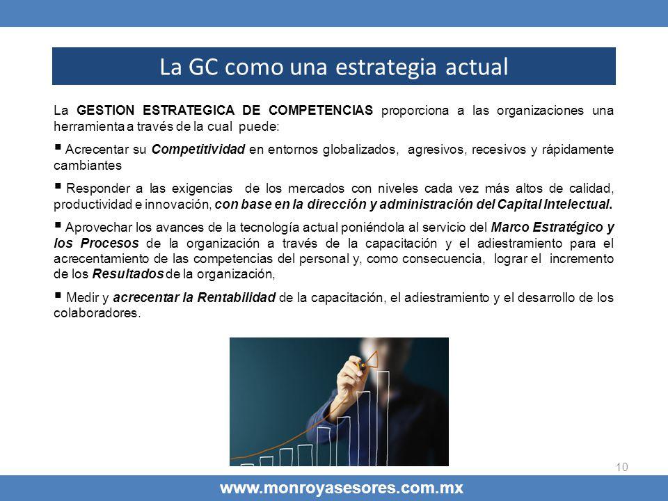 10 La GC como una estrategia actual www.monroyasesores.com.mx La GESTION ESTRATEGICA DE COMPETENCIAS proporciona a las organizaciones una herramienta