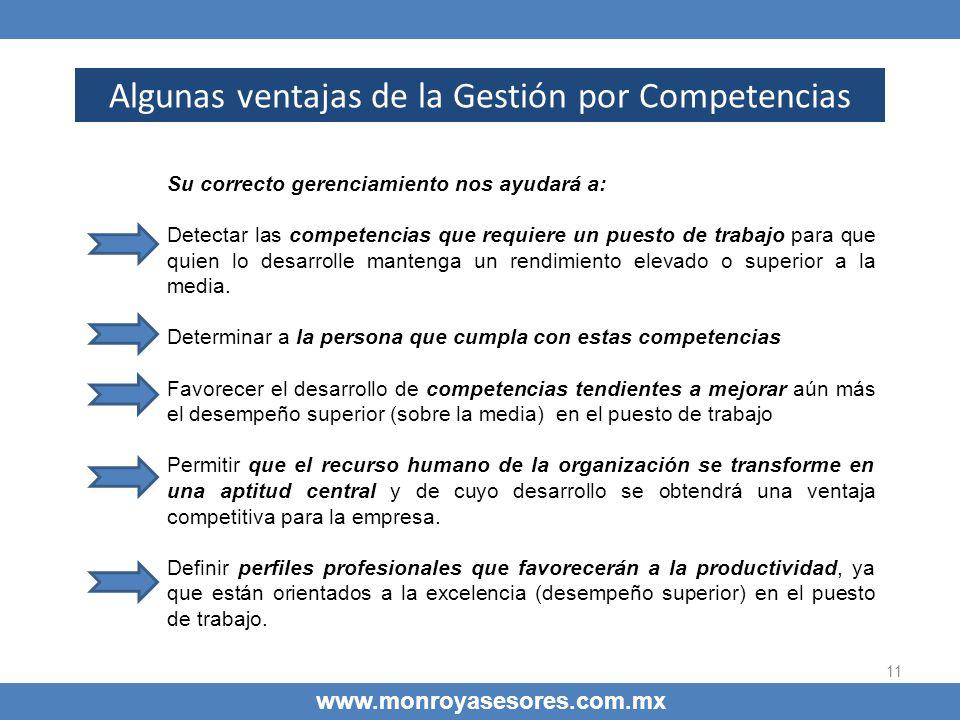 11 Algunas ventajas de la Gestión por Competencias www.monroyasesores.com.mx Su correcto gerenciamiento nos ayudará a: Detectar las competencias que r