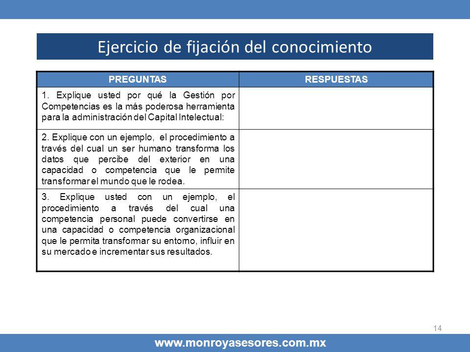 14 Ejercicio de fijación del conocimiento www.monroyasesores.com.mx PREGUNTASRESPUESTAS 1. Explique usted por qué la Gestión por Competencias es la má