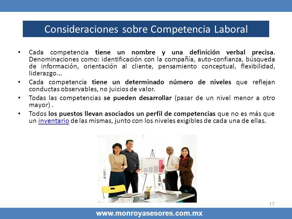 17 Consideraciones sobre Competencia Laboral www.monroyasesores.com.mx Cada competencia tiene un nombre y una definición verbal precisa. Denominacione