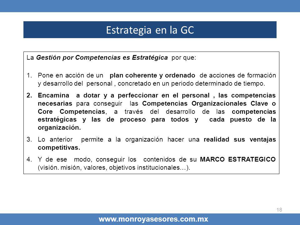 18 Estrategia en la GC www.monroyasesores.com.mx La Gestión por Competencias es Estratégica por que: 1.Pone en acción de un plan coherente y ordenado