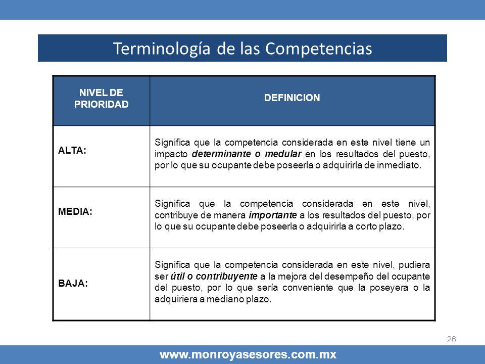 26 Terminología de las Competencias www.monroyasesores.com.mx NIVEL DE PRIORIDAD DEFINICION ALTA: Significa que la competencia considerada en este niv