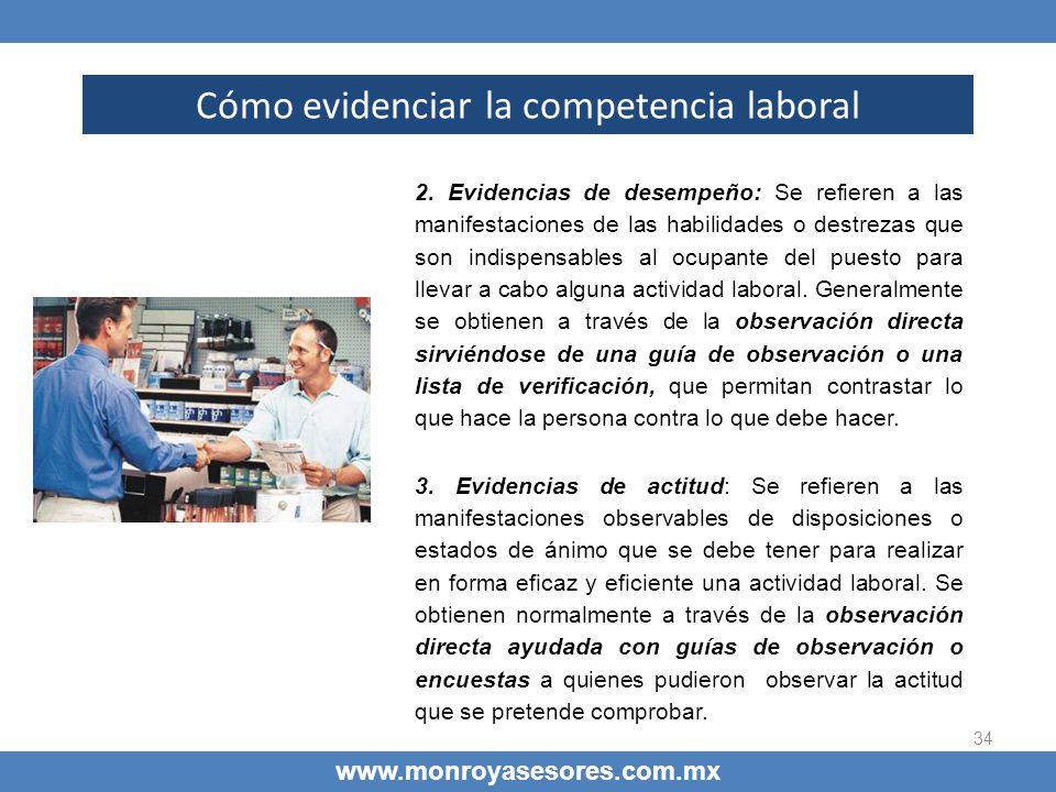 34 Cómo evidenciar la competencia laboral www.monroyasesores.com.mx 2. Evidencias de desempeño: Se refieren a las manifestaciones de las habilidades o