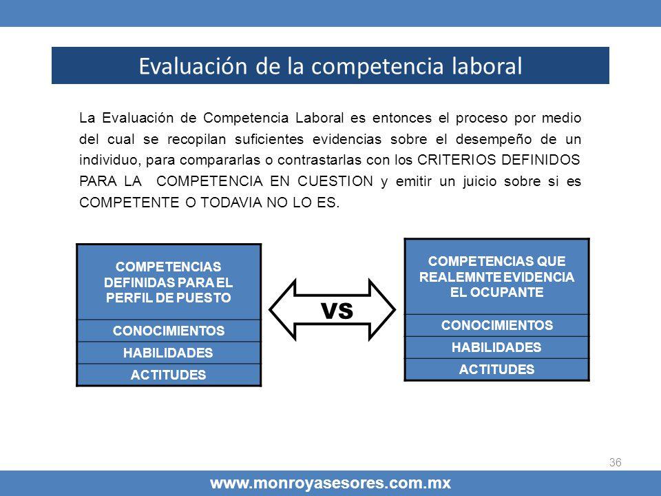 36 Evaluación de la competencia laboral www.monroyasesores.com.mx La Evaluación de Competencia Laboral es entonces el proceso por medio del cual se re