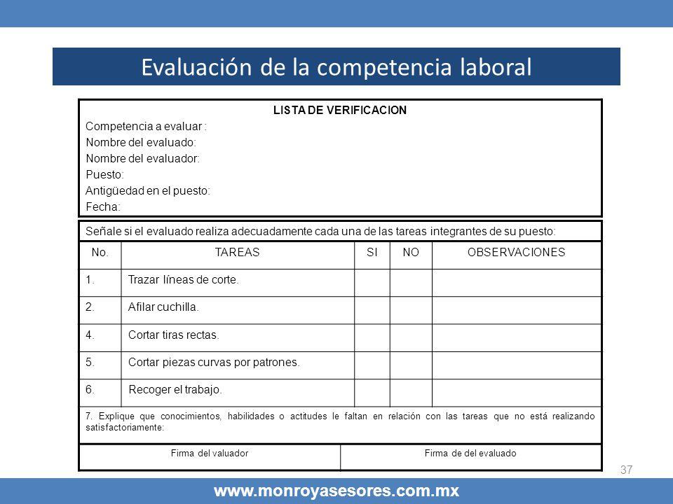 37 Evaluación de la competencia laboral www.monroyasesores.com.mx LISTA DE VERIFICACION Competencia a evaluar : Nombre del evaluado: Nombre del evalua