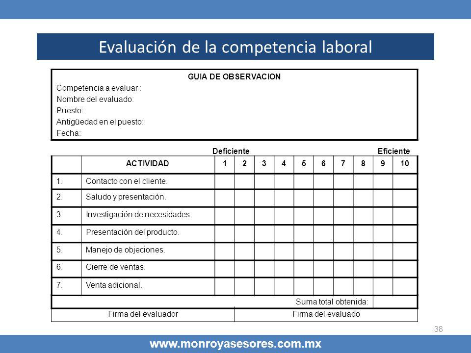 38 Evaluación de la competencia laboral www.monroyasesores.com.mx GUIA DE OBSERVACION Competencia a evaluar : Nombre del evaluado: Puesto: Antigüedad