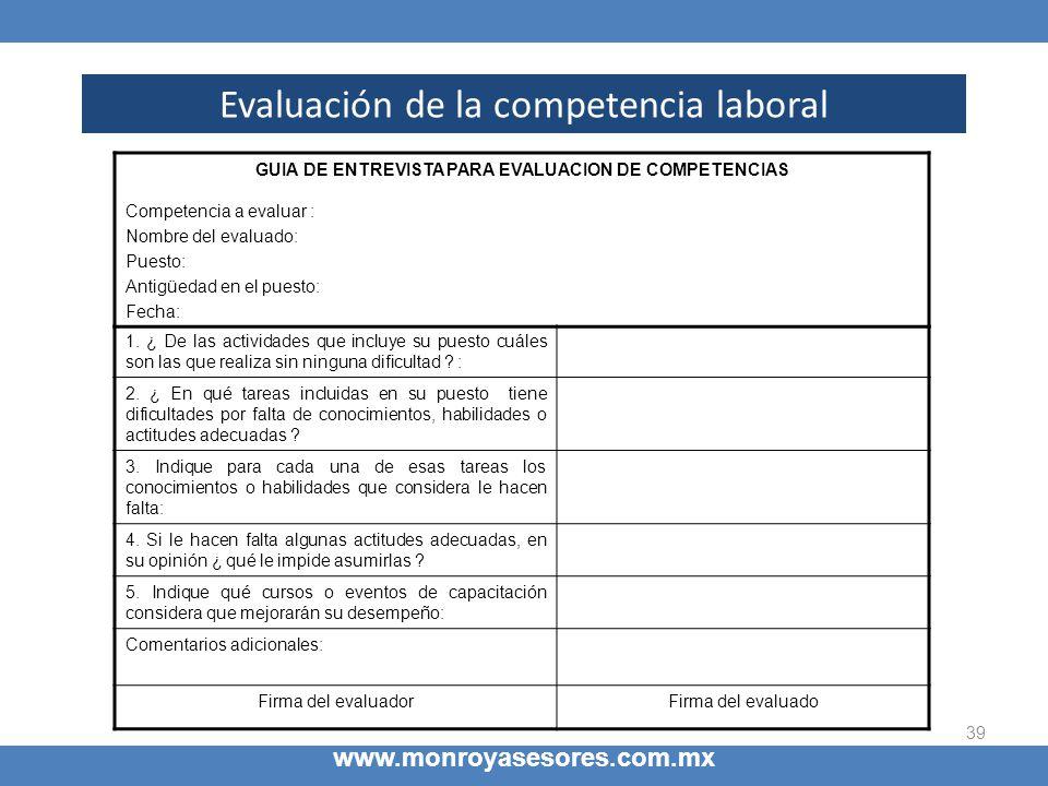 39 Evaluación de la competencia laboral www.monroyasesores.com.mx GUIA DE ENTREVISTA PARA EVALUACION DE COMPETENCIAS Competencia a evaluar : Nombre de