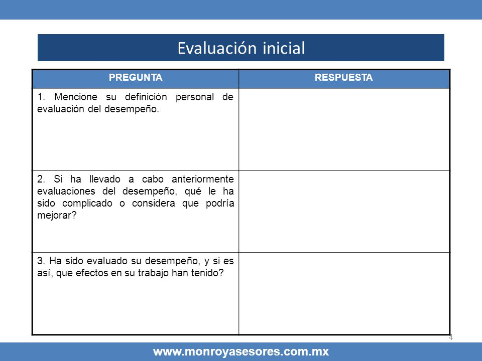 4 Evaluación inicial www.monroyasesores.com.mx PREGUNTARESPUESTA 1. Mencione su definición personal de evaluación del desempeño. 2. Si ha llevado a ca
