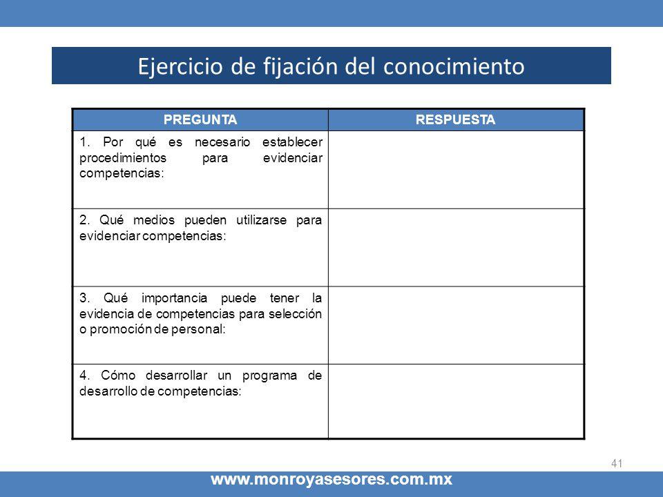 41 www.monroyasesores.com.mx Ejercicio de fijación del conocimiento PREGUNTARESPUESTA 1. Por qué es necesario establecer procedimientos para evidencia