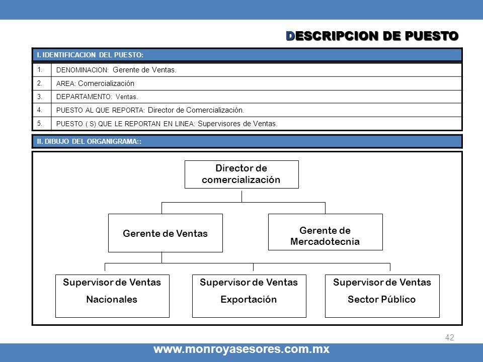 42 www.monroyasesores.com.mx 1. DENOMINACION: Gerente de Ventas. 2. AREA: Comercialización 3.DEPARTAMENTO: Ventas. 4. PUESTO AL QUE REPORTA: Director