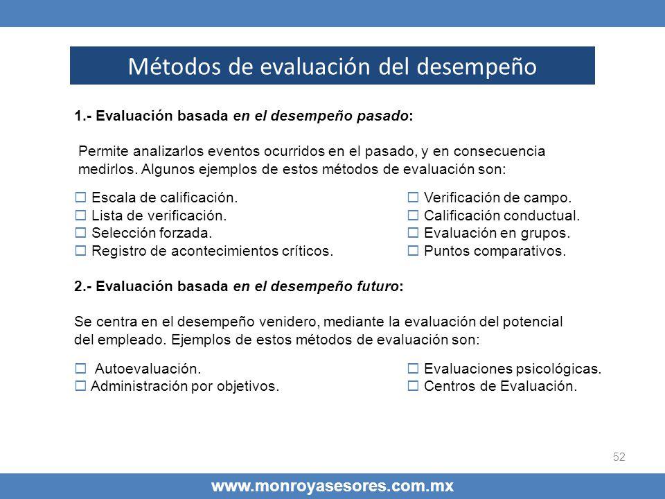 52 www.monroyasesores.com.mx Métodos de evaluación del desempeño 1.- Evaluación basada en el desempeño pasado: Permite analizarlos eventos ocurridos e