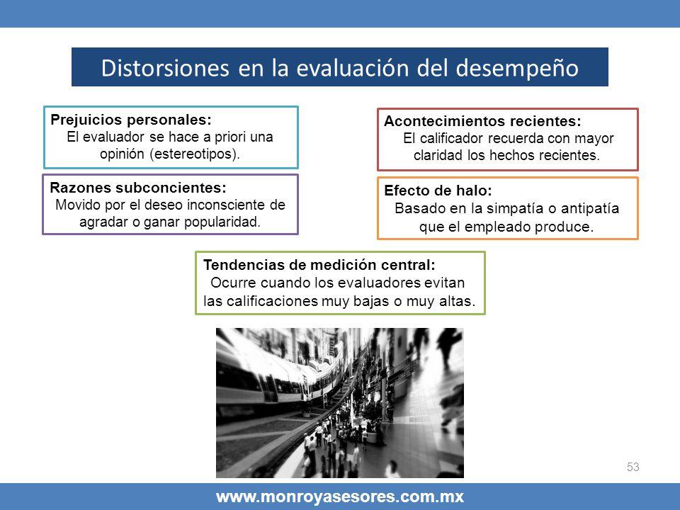 53 www.monroyasesores.com.mx Distorsiones en la evaluación del desempeño Prejuicios personales Prejuicios personales: El evaluador se hace a priori un