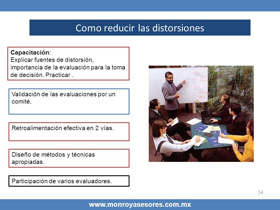 54 www.monroyasesores.com.mx Como reducir las distorsiones Capacitación Capacitación: Explicar fuentes de distorsión, importancia de la evaluación par