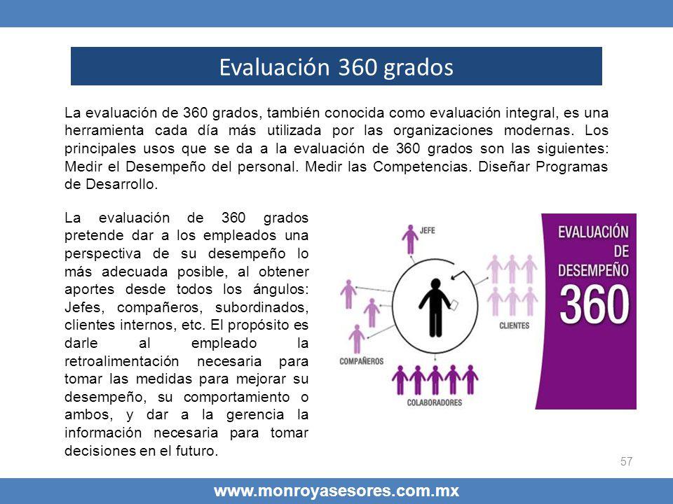57 www.monroyasesores.com.mx Evaluación 360 grados La evaluación de 360 grados, también conocida como evaluación integral, es una herramienta cada día