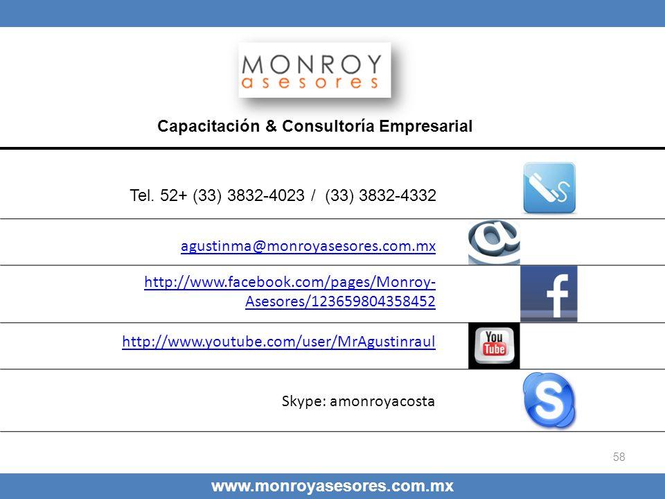 58 Capacitación & Consultoría Empresarial agustinma@monroyasesores.com.mx http://www.facebook.com/pages/Monroy- Asesores/123659804358452 http://www.yo