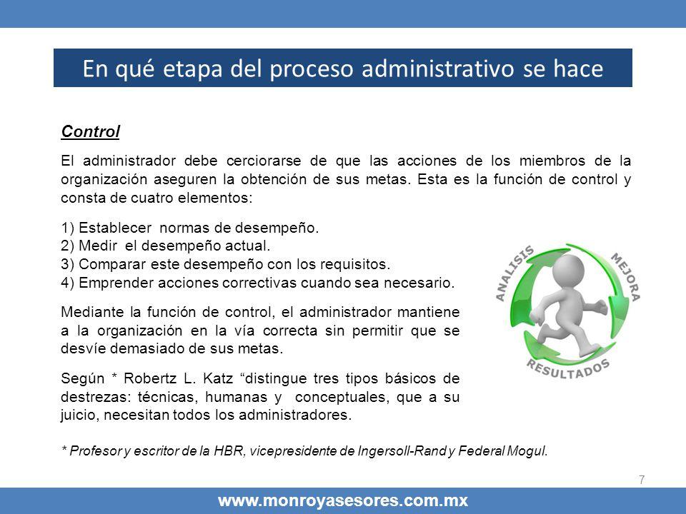 7 En qué etapa del proceso administrativo se hace www.monroyasesores.com.mx Control El administrador debe cerciorarse de que las acciones de los miemb